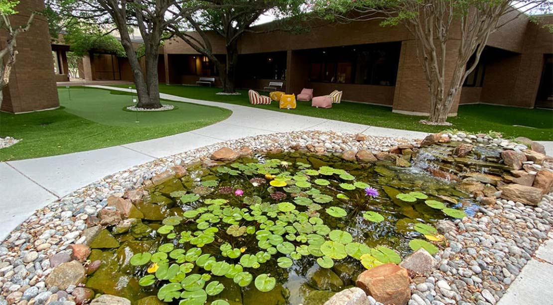 HEXA Coworking Richardson TX - Courtyard and Koi Pond